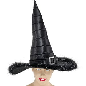 Black Witch Hat Deluxe + Marabou Trim Halloween Fancy Dress Costume *** Sale ***