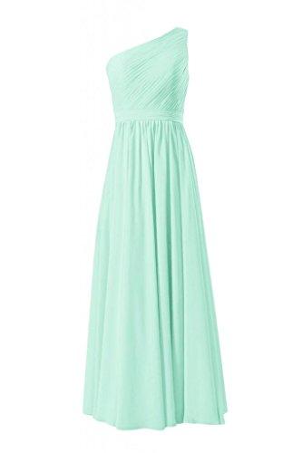 Daisyformals Long One Shoulder Chiffon Bridesmaid Dress(Bm10822L)- Mint
