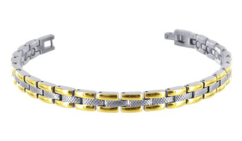 Stainless Steel 8 MM Wide Two Tone Magnetic Link Bracelet 8.5″Long
