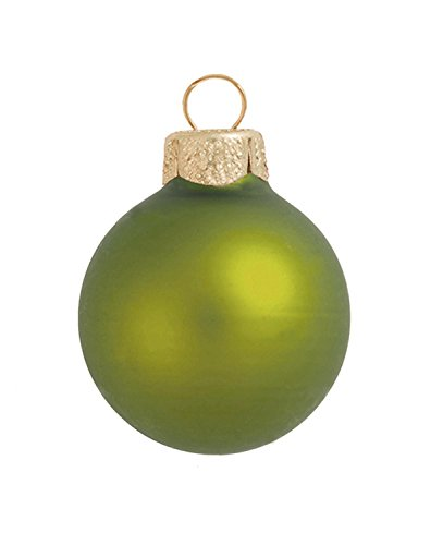 8ct Matte Lime Green Glass Ball Christmas Ornaments 3.25