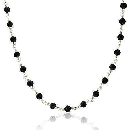 Elegante Kette / Kollier mit Onyx Perlen – Sterling Silber