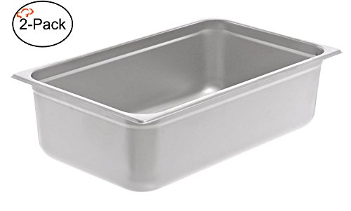 Tiger Chef 2-Pack 6-inch Full-Size Stainless Steel Anti-Jam Steam Table Pan, Hotel Pan (Jam Pan Stainless Steel compare prices)