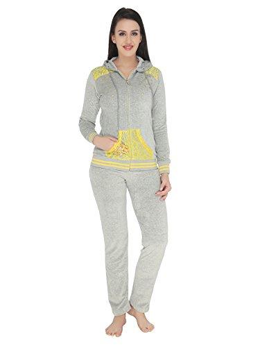 Valentine-Womens-Grey-color-Fleece-Solid-Top-Pyjama-Set