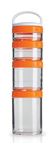 Blenderbottle Gostak Twist N' Lock Storage Jars, 4-Piece Starter Pak, Orange