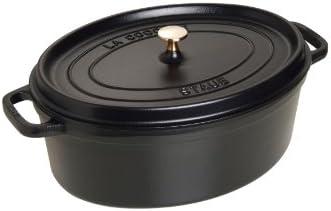 Staub Cocotte/Bräter oval mit Deckel (37 cm, 8,0 L, induktionsgeeignet, mit mattschwarzer Emaillierung im Inneren des Topfes) schwarz