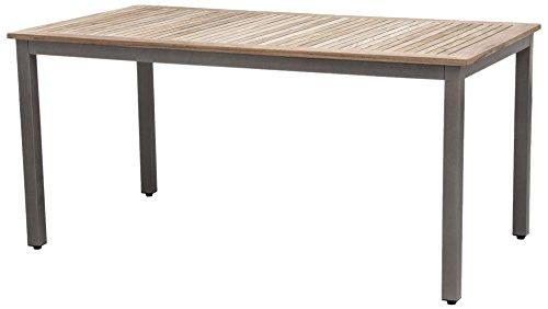 Siena Garden 254853 Tisch Geneva, 160x90cm Aluminium-Gestell bronze Tischplatte Teakholz FSC® 100%