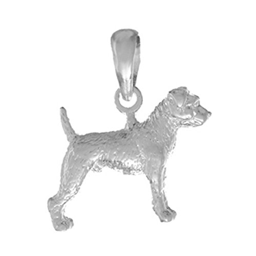 925 Sterling Silver Dog Charm Pendant, 3D Jack Russle Terrier Textured (Jack Russle compare prices)