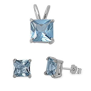 Sterling Silver Aquamarine CZ Earrings and Necklace Jewelry Set