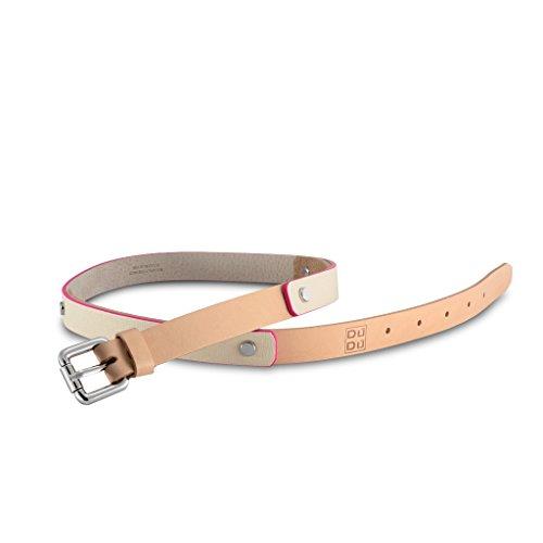Cintura da donna Made in Italy di pelle Saffiano con rivetti DUDU Beige