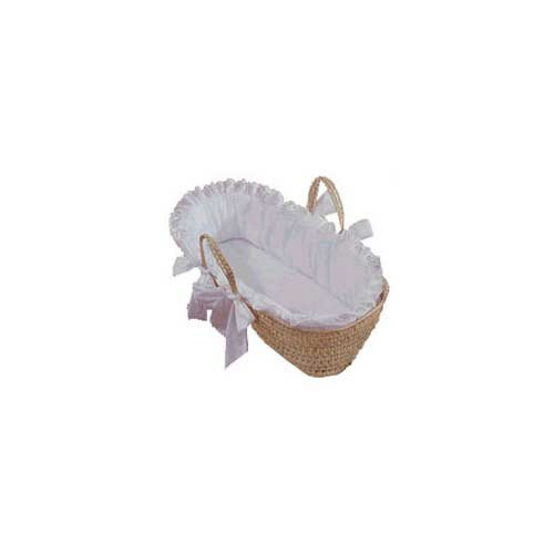 Imagen de Baby Doll Bedding Carnation Ojal Moisés Basket, White