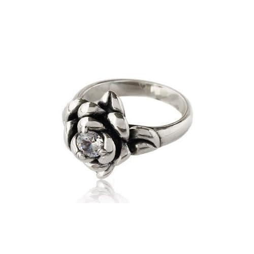 シルバー925 ピンキーリング 薔薇・ローズ 指輪・リング レディース キュービックジルコニア r0630 【1号】