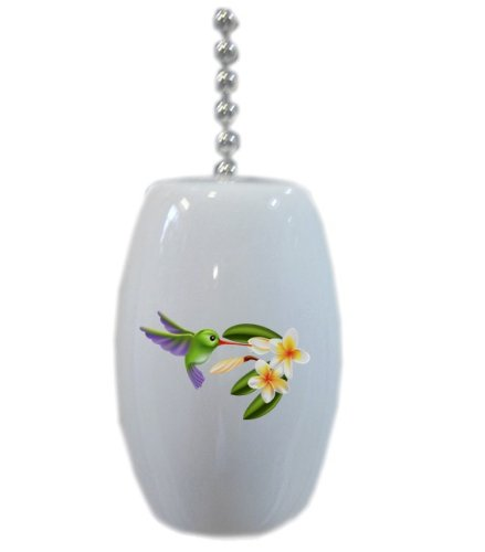Hummingbird And Flowers Ceramic Fan Pull front-221426