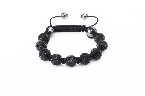 Fashion Nine 12mm Fired Clay Bead with Hand Set Black Czech Crystals and Hematite Beads Shamballa Adjustable Bracelet