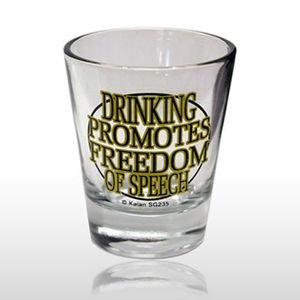 DRINKING PROMOTES FREEDOM SHOT GLASS (235) - 1