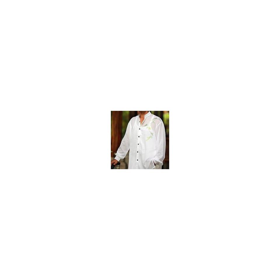 NOVICA Mens cotton shirt, Jade Bamboo