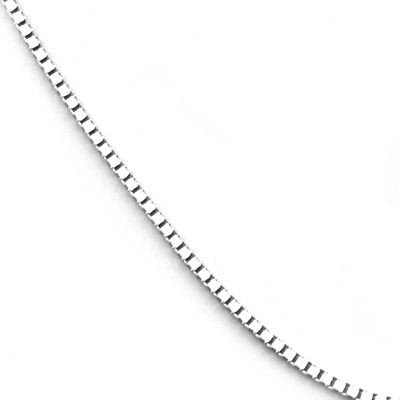 14k White Gold .7mm Baby Box Chain Necklace - 18