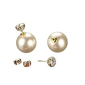 Rose Gold Plated Pearls & Rhinestones Big White Glossy Pearl Crystal Rhinestones Double Stud Earrings