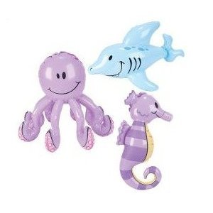 "Set of 3 Inflatable SEA CREATURES- OCTOPUS SEAHORSE DOLPHIN/20"" - 24"" INFLATES/PARTY FAVORS/DECORATIONS/DECOR/Ocean ANIMALS"