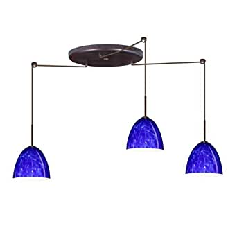 Vila 3 light kitchen island pendant shade color blue for Kitchen spotlights amazon