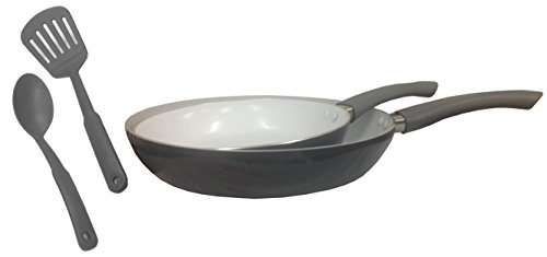 IMUSA USA IMU-25066SET 2-Piece Ceramic Saute Pan Set, 20/26cm, Grey