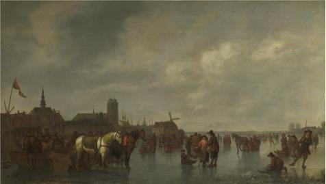 Perfect Effect Canvas ,the Best Price Art Decorative Canvas Prints Of Oil Painting 'Abraham Van Calraet - Scene On The Ice Outside Dordrecht,about 1665', 16x28 Inch / 41x72 Cm Is Best For Study Gallery Art And Home Artwork And Gifts (Ice Mountain 35 Pack compare prices)