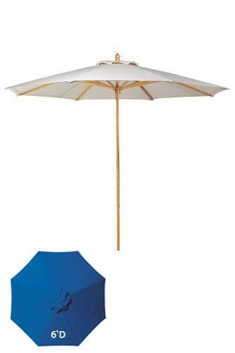 6'd Replacement Canopy For Wood frame Outdoor Market Umbrellas, 6'D, BLUE DERCLON