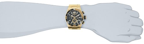 Invicta Men's 1343 Pro Diver Chronograph Black Dial 18k Gold Ion-Plated Stainless Steel Watch