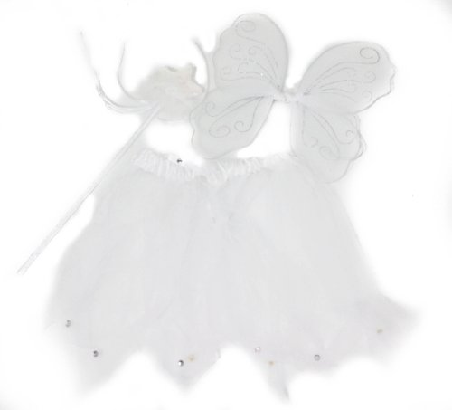 Girls Fairy Set with Wand Wings And Tutu Wing Size Approx. 30x20 cm - White