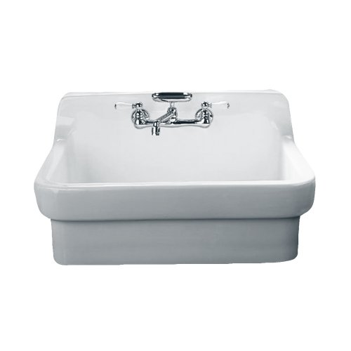 Best Review Of American Standard 9062.008.020 Country Kitchen Sink with 8-Inch Centers, White Heat