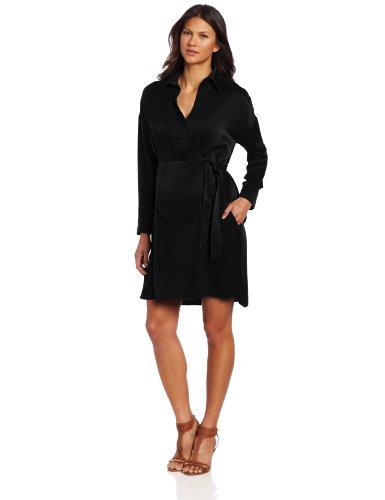 Ingrid & Isabel Women'S Maternity Silk Tie Shirt Dress, Black, Large front-821605