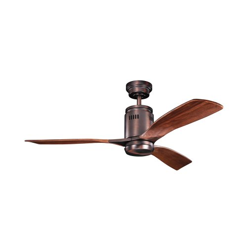 Kichler Lighting 300145Obb Ridley 52-Inch 1-Light Ceiling Fan, Oil Brushed Bronze Finish With Walnut Stain Wood Blades And Etched Cased Opal Light Kit