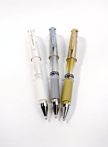 Uni-ball Signo UM-153 - Set de bolígrafos de punta redonda ancha (3 unidades), colores variados