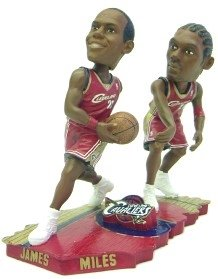Cleveland Cavaliers James & Miles Forever Collectibles Bobble Mates by Hall of Fame Memorabilia