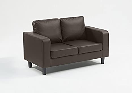 Not Just Beds Faux Leather Box Sofa 2 Seater - Black. Free UK Mainland Delivery 7-10 working days