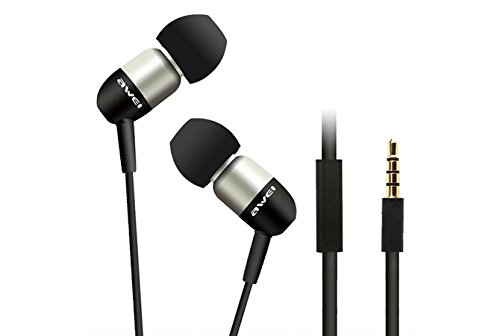 Awei® Es-Q8I Super Bass Three Frequency Balanced In-Ear Stereo Earphones With Microphone For For Iphone 4/4S/5/5S Ipod Mp3 Mp4 Samsung Htc (Silver)