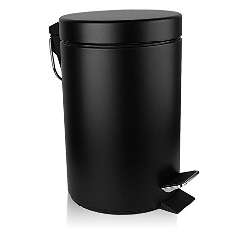 TECKING 5L Gallons Carbon Steel Trash Can Black (Basketball Food compare prices)