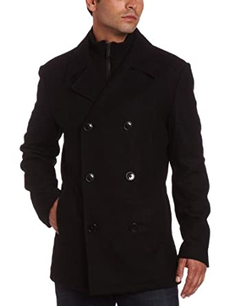 Kenneth Cole Reaction Mens Plush Peacoat With Bib Black Medium