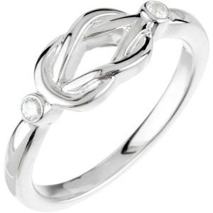 Sterling Silver Rough Diamond Knot Ring .06ct