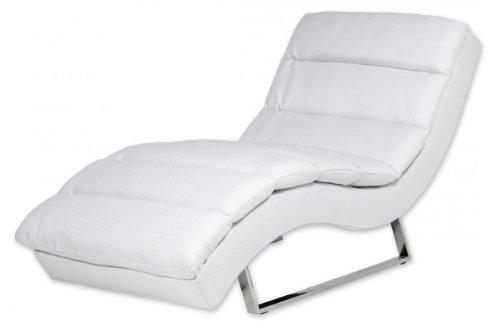 Miraseo MYHHRS63W Niko Chaiselongues - Relaxliege, hochwertiger Loungestuhl Fernsehsessel in Textil (Stoff), Farbe Weiß, edler design comfort TV Liegesessel mit den Maßen: 168 x 73 x 86 cm