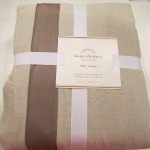 pottery barn linen with silk trim duvet cover king california kin. Black Bedroom Furniture Sets. Home Design Ideas
