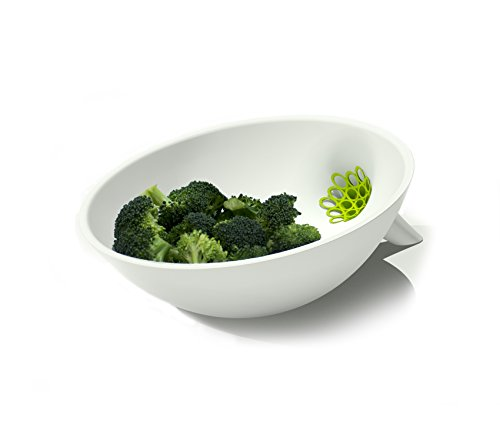 Anton Strainer Bowl, Convenient Design - Removable Strainer - Dishwasher Safe - Premium Quality (White with Green Insert) (Extra Fine White Rice Flour compare prices)
