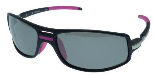 Polaroid Wrap Sunglasses - Black/Pink Color Frame - Polarized Grey Silver Mirror Lenses - Lens Size 63Mm