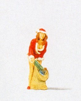 CHRISTMAS GIRL WITH GIFTS - PREISER HO SCALE MODEL TRAIN FIGURE 29028