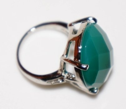 Semi-Precious Natural Stone Ring-Green Size 6.5