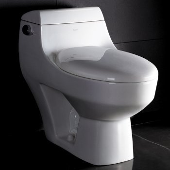 Athena Contemporary Elongated One Piece Toilet in White