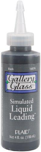 Plaid Gallery Glass Simulated Liquid Leading (4 Ounce), 16076 Classic Black