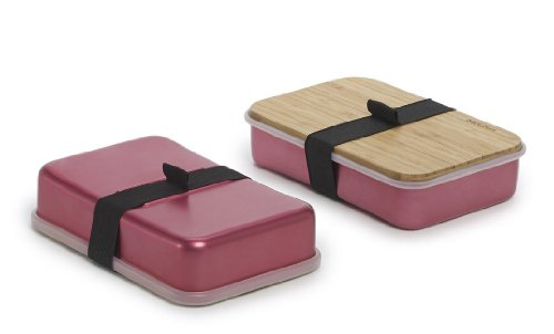 Black And Blum Aluminium Pack Up Sandwich Lunch Box Bamboo Chopping Board Lid Pink - Sb003