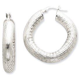 Sterling Silver Polished & Textured Hoop Earrings