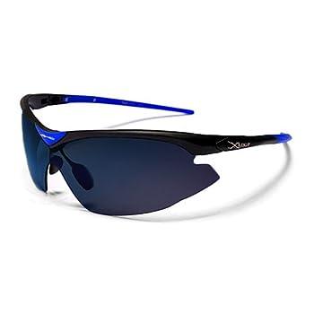 X-Loop Lunettes de Soleil - Sport - Cyclisme - Ski - Conduite - Moto / Mod. 1360 Noir Bleu Semi-Miroités / Taille Unique Adulte / Protection 100% UV400