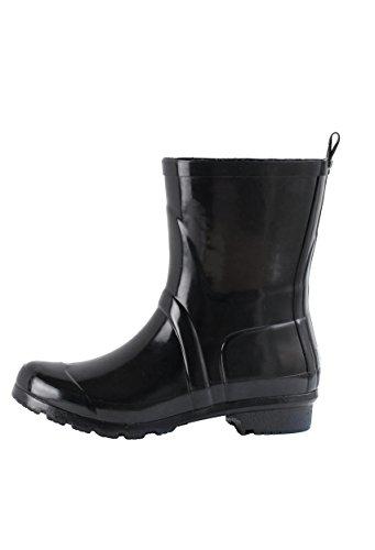 Women's Noxon Short Rubber Rain Boots (8, Black) (Woman Short Rain Boots compare prices)
